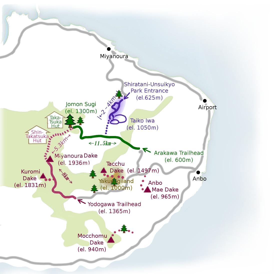 Yakushima Life Guided Hikes And Hiking Tours - Japan map yakushima